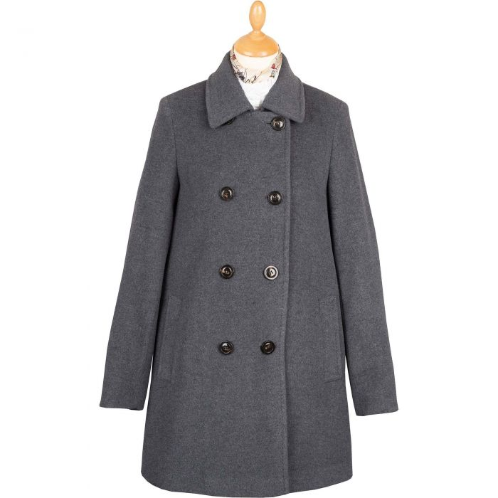 Grey Double Breasted Wool Pea Coat