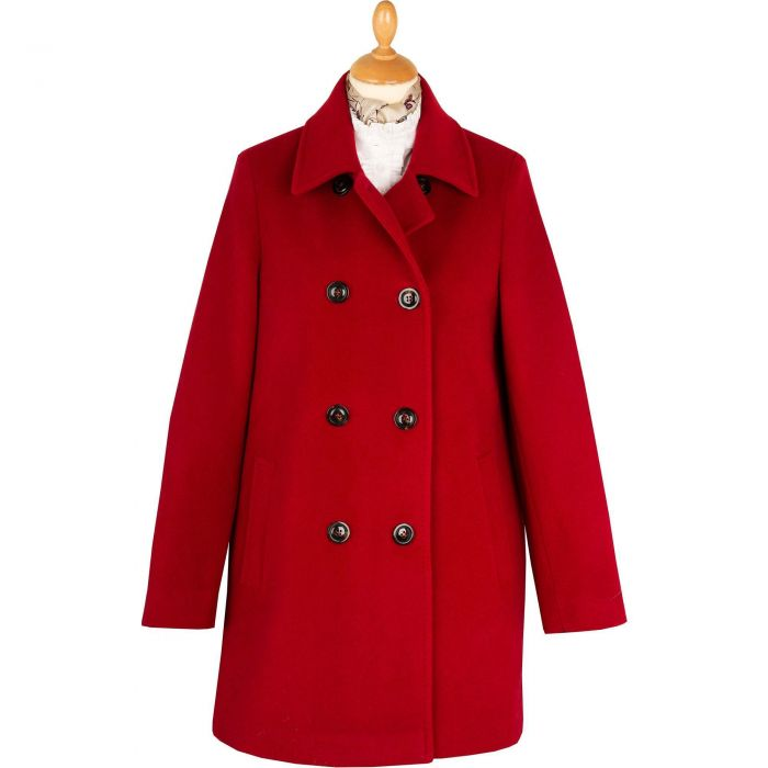 Red Double Breasted Wool Pea Coat