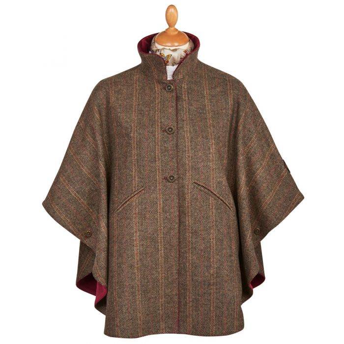 Brown & Red Reversible Tweed and Velvet Cape