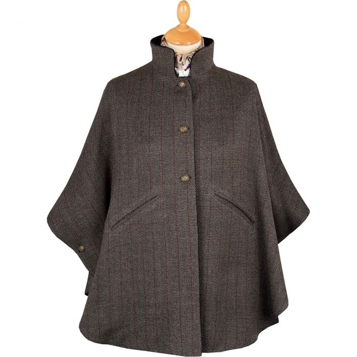 Charcoal Velvet and Tweed Reversible Cape