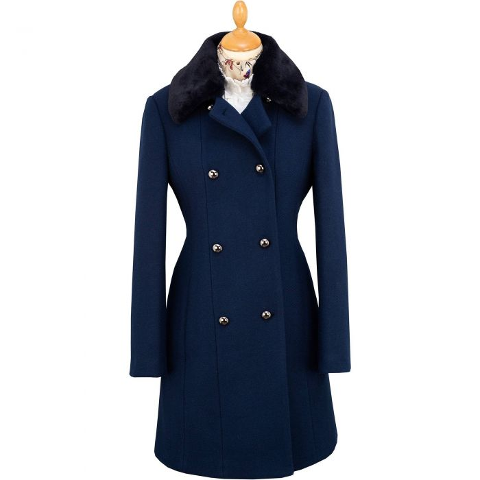 Navy Double Breasted Fur Effect Collar Coat
