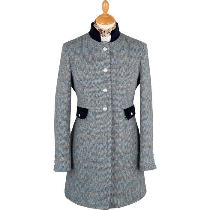 Blue Kempton Harris Tweed Nehru Coat
