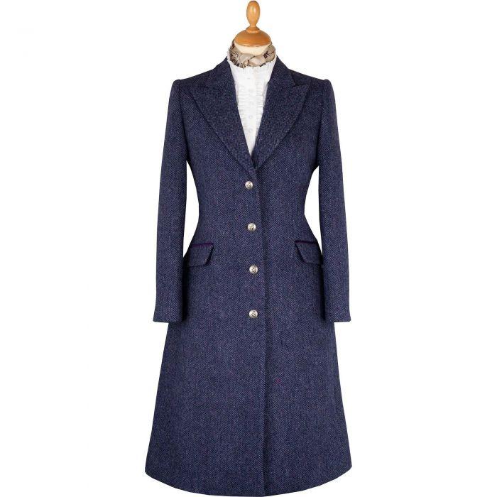 Blue and Plum Murton Harris Tweed Long Coat