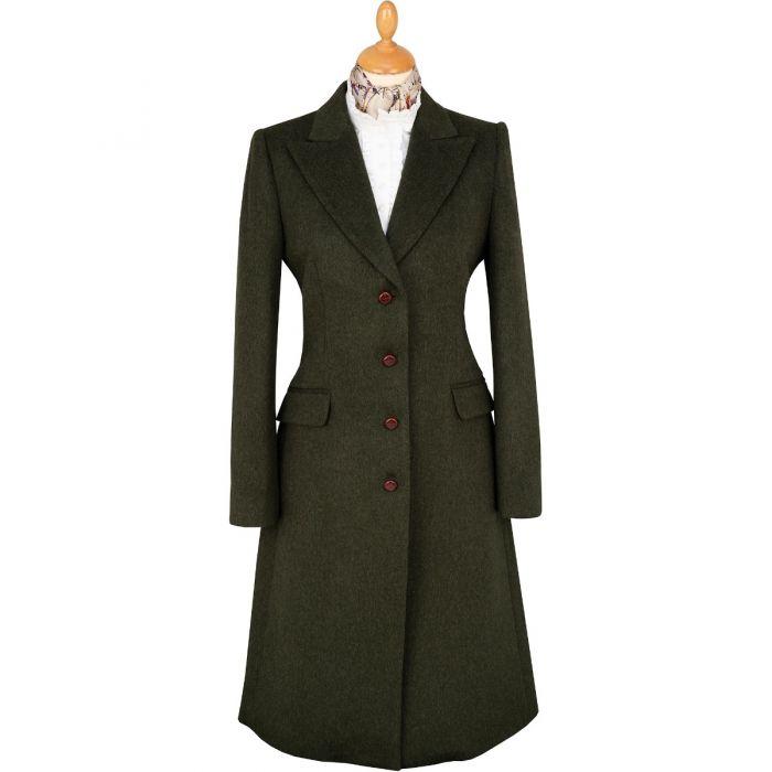 Loden Green Peak Lapel Long Coat