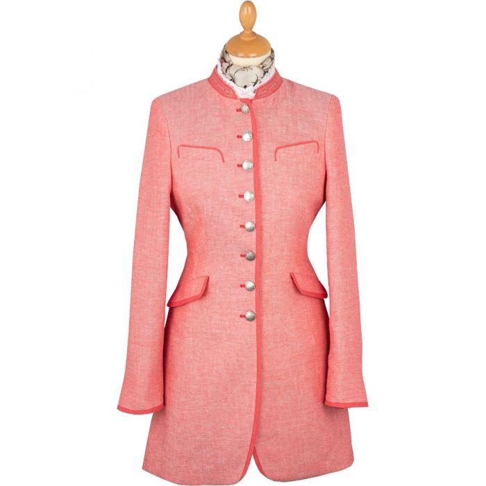 Coral Linen Austrian Nehru Coat