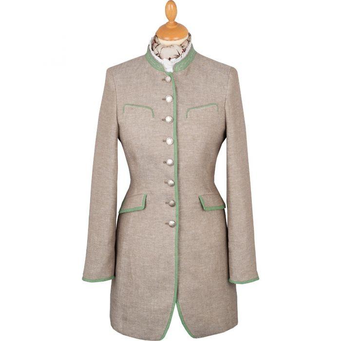 Khaki Linen Austrian Nehru Coat