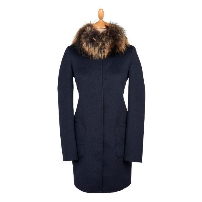 Navy Grey Reversible Cashmere & Wool Fur Collar Coat