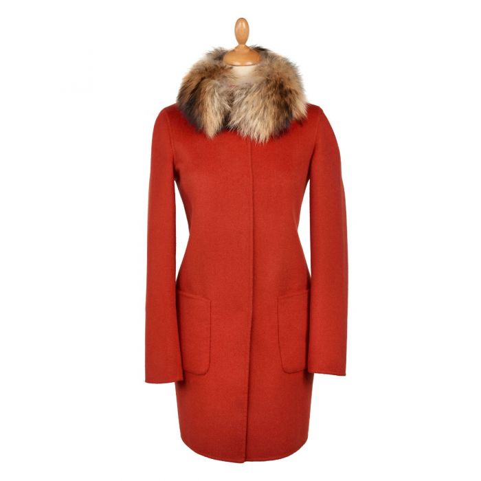 Orange Tan Reversible Cashmere & Wool Fur Collar Coat