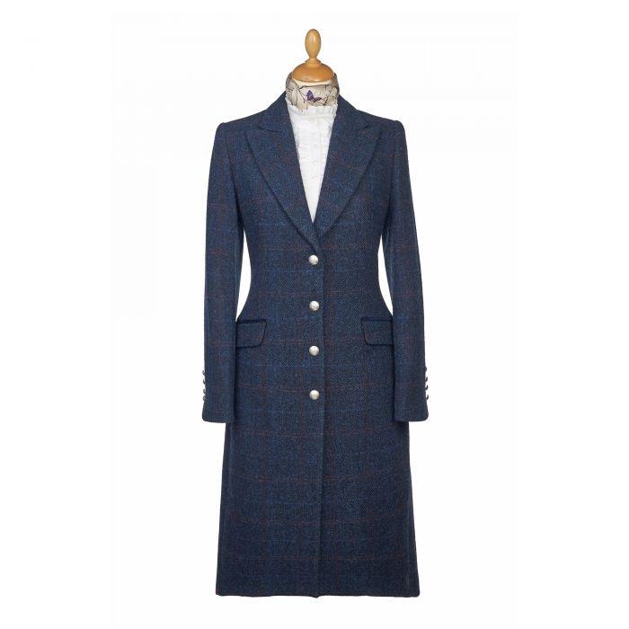 Navy Harris Tweed Long Coat