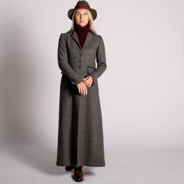 Long Tweed With Velvet Trim Coat