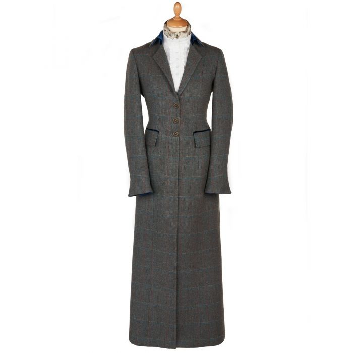 Long Tweed With Velvet Trim Coat