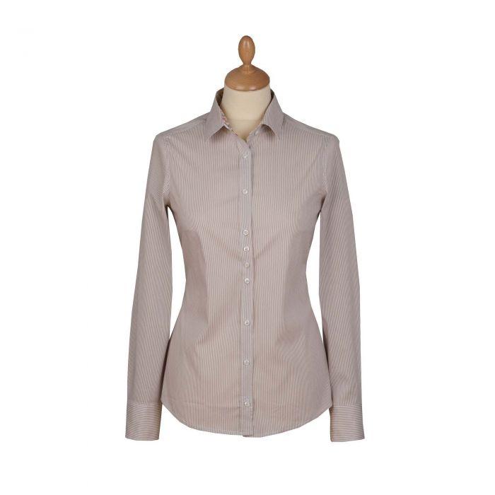 Tan Beige Stripe Stretch Shirt