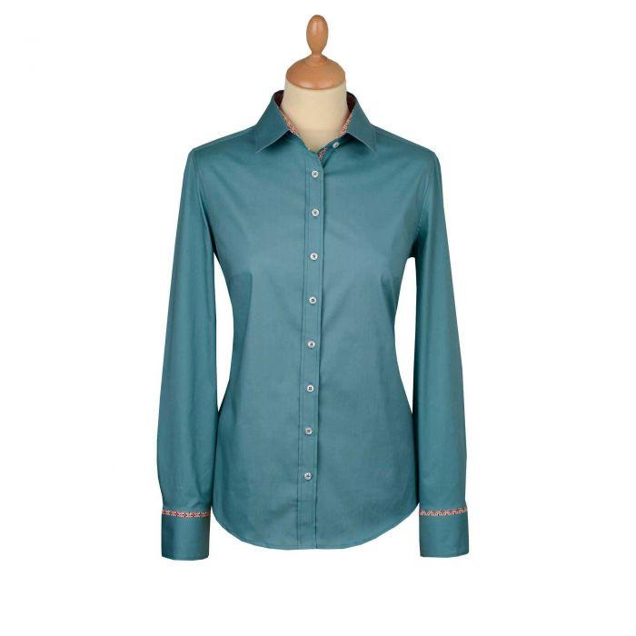 Green Stretch Cotton Lycra Shirt