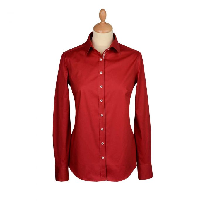 Red Stretch Cotton Lycra Shirt