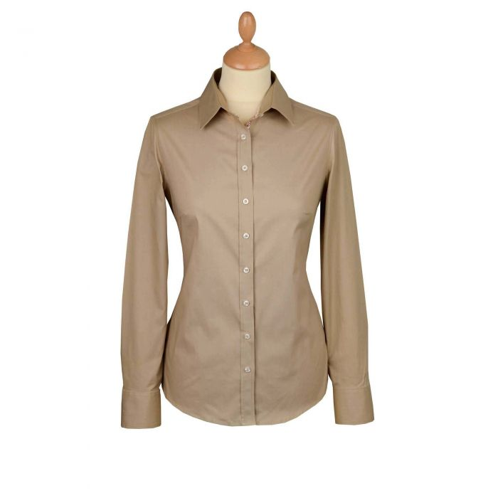 Beige Stretch Cotton Lycra Shirt