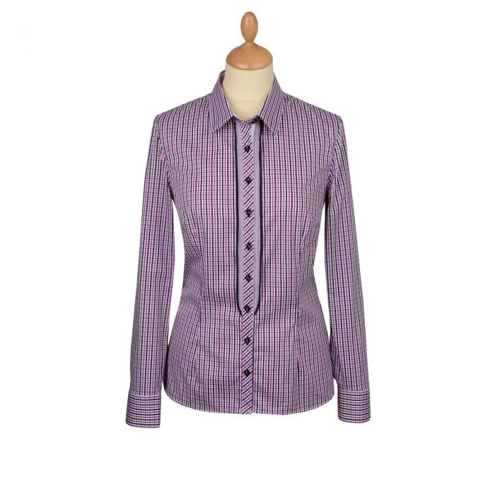 Purple Check Trim Stretch Shirt
