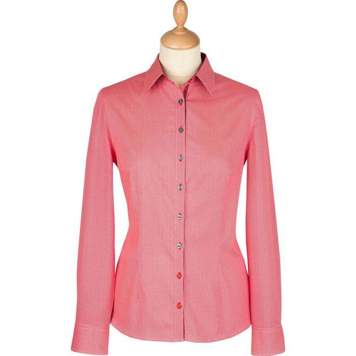 Red Birdseye Cotton Tartan Trim Shirt