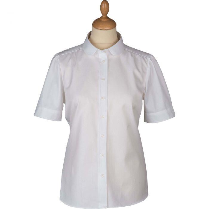 Round Collar Short Sleeve Cotton Shirt