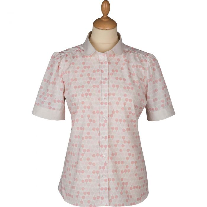 Cream Bay Trees Peter Pan Collar Cotton Shirt