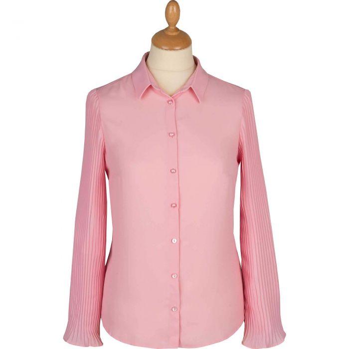 Pink Pleated Sleeve Shirt