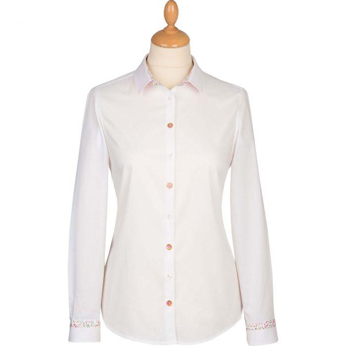 White Rose Trim Cotton Shirt