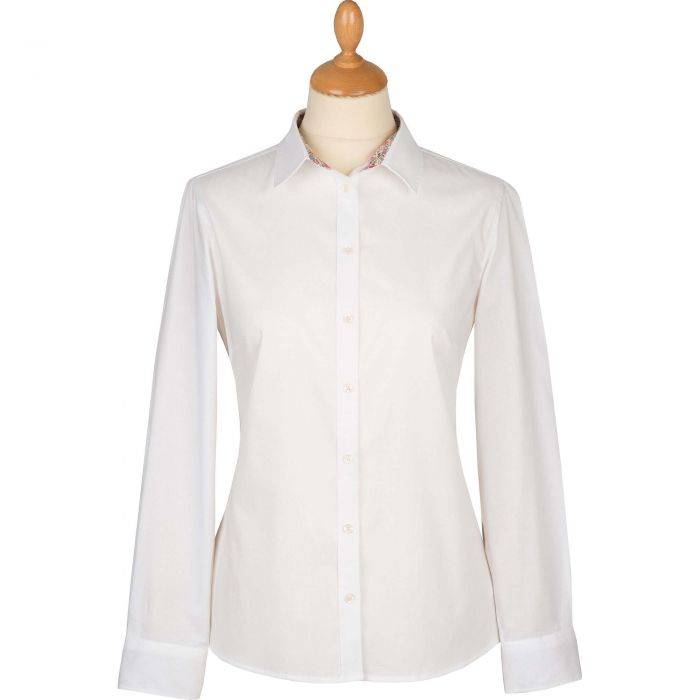 White Liberty Trimmed Cotton Shirt