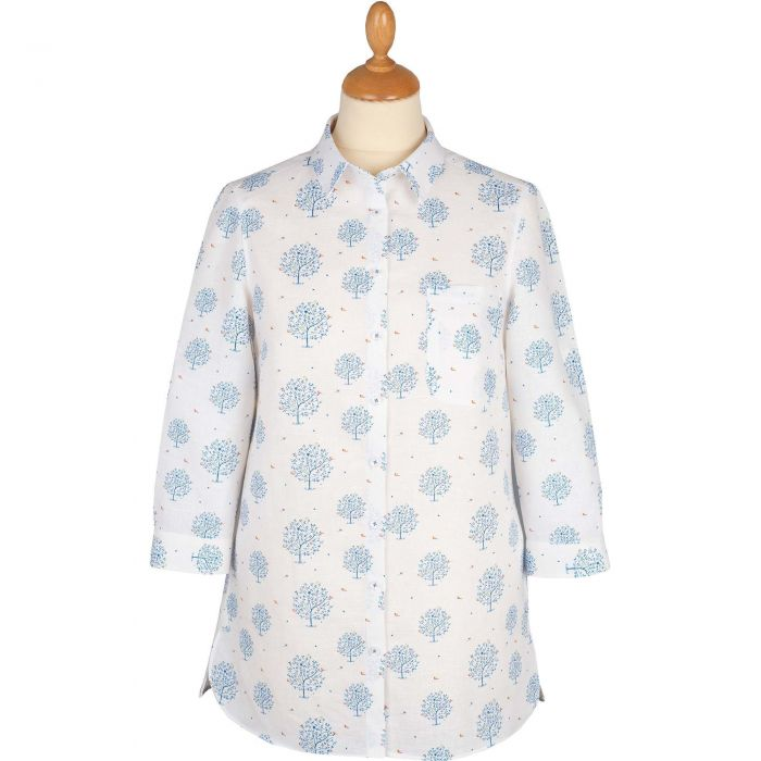 White Tree Print Linen Shirt
