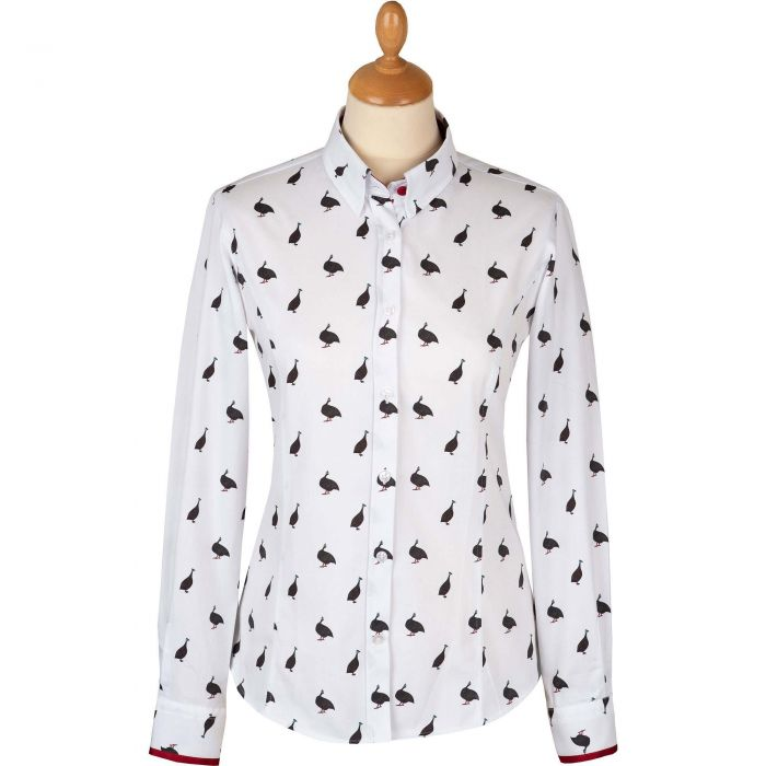 Fitted Guinea Fowl Trim Shirt