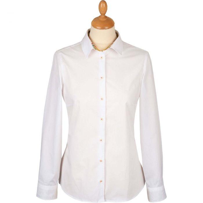 White Stretch Shirt with Orange Liberty Trim