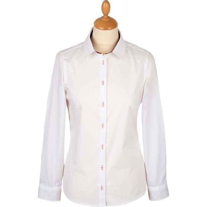 White Stretch Shirt with Pink Liberty Trim