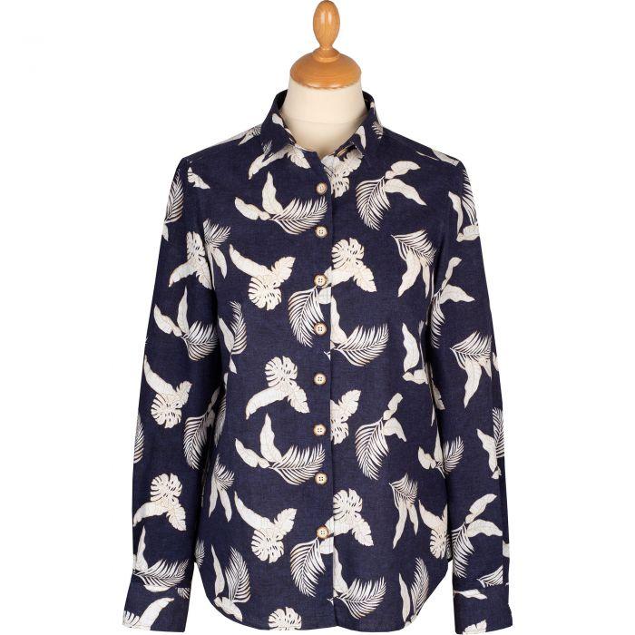Navy Leaf Print Linen Shirt