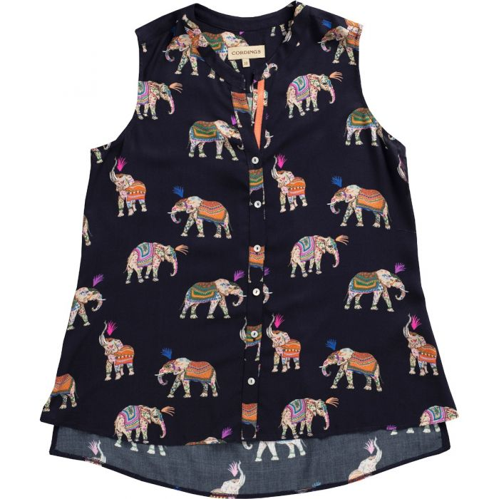 Navy Elephant Print Sleeveless Shirt