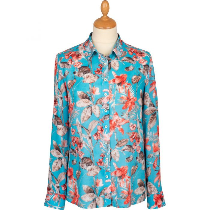 Turquoise Tropical Floral Print Viscose Shirt