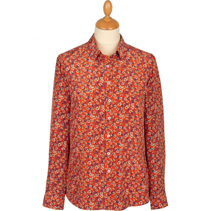 Red Peach Blossom Liberty Silk Crepe Shirt