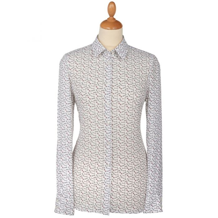 White Snaffle Trim Cotton Shirt