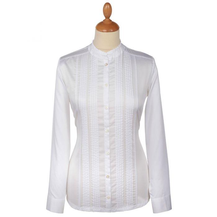 White Pin Tuck Pie Crust Cotton Shirt