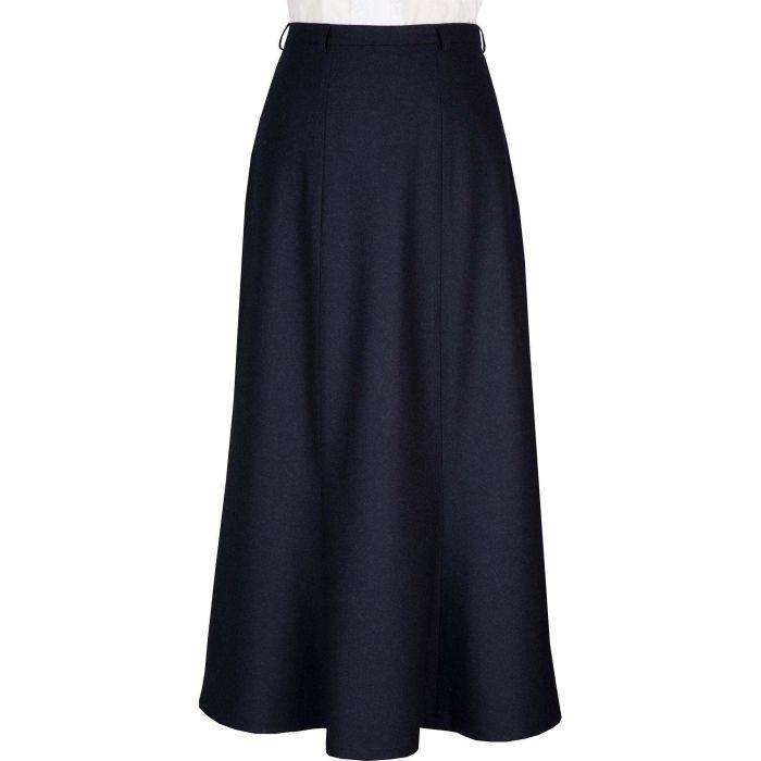 Navy Blue Loden A Line Skirt