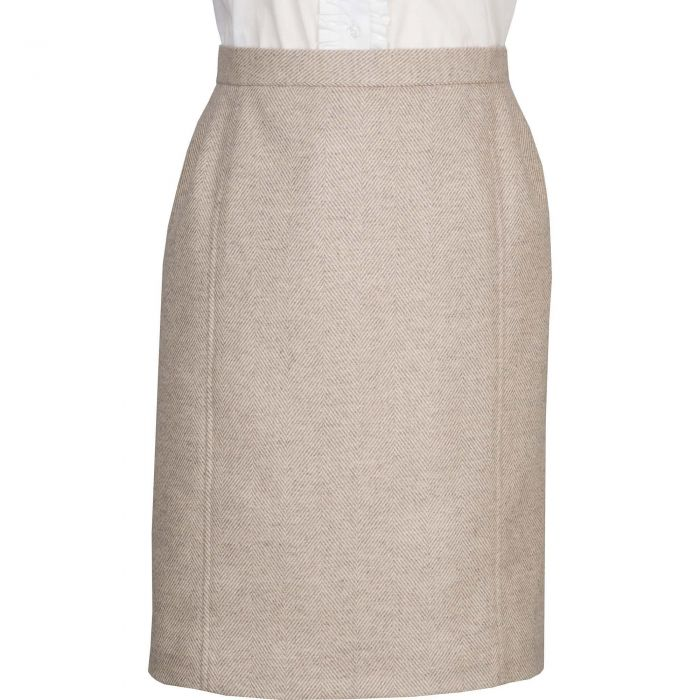 Lancing Herringbone Tweed Pencil Skirt