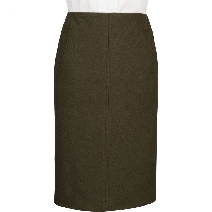 Olive Green Loden Pencil Skirt