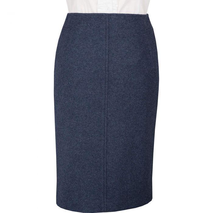 Navy Blue Loden Pencil Skirt