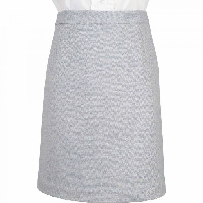 Pale Blue Herringbone Tweed Short Skirt