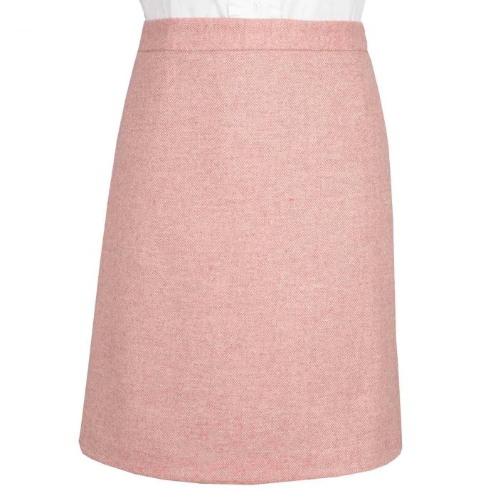 Pale Pink Herringbone Tweed Short Skirt