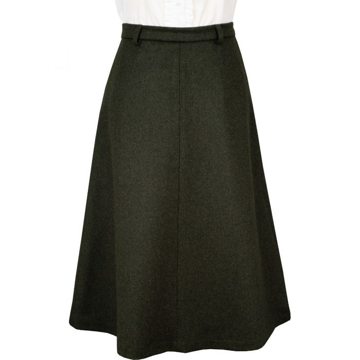 Olive Green A Line  Loden Skirt