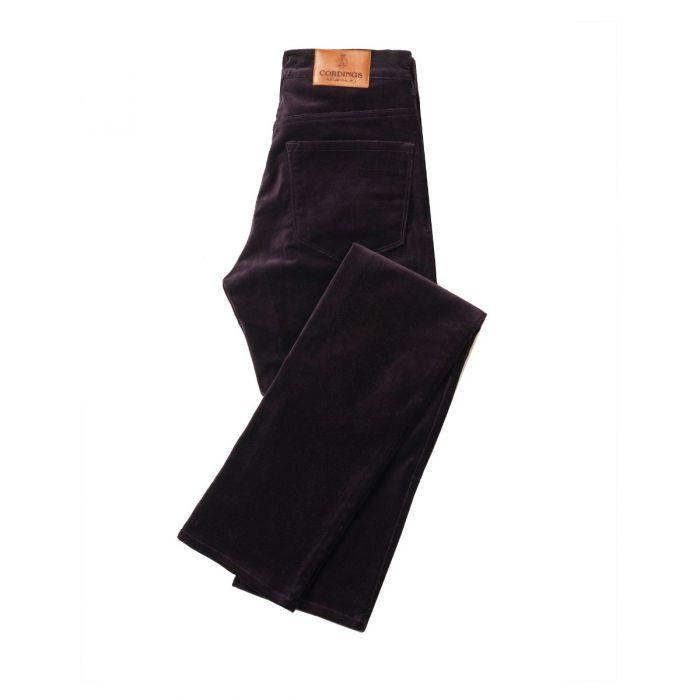 Aubergine Stretch Velvet Trousers