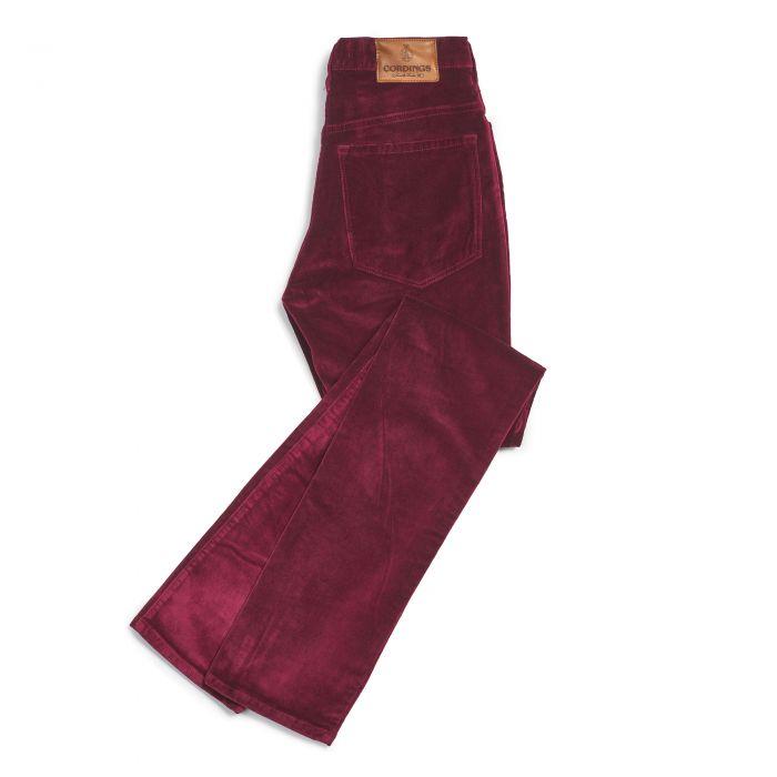 Bordeaux stretch velvet jeans