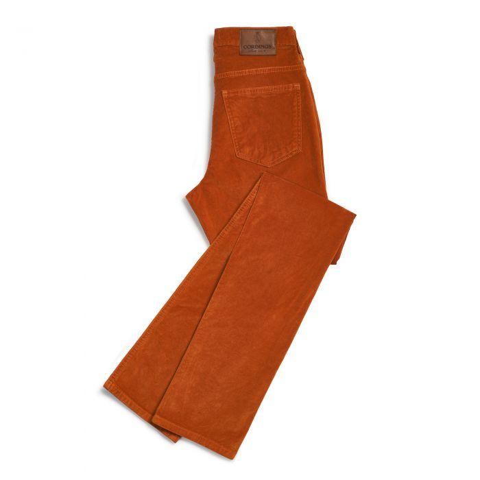Orange stretch velvet jeans