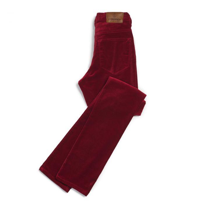 Deep Red stretch velvet jeans