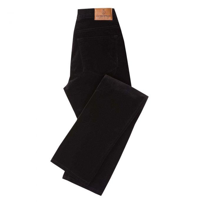 Black stretch velvet jeans