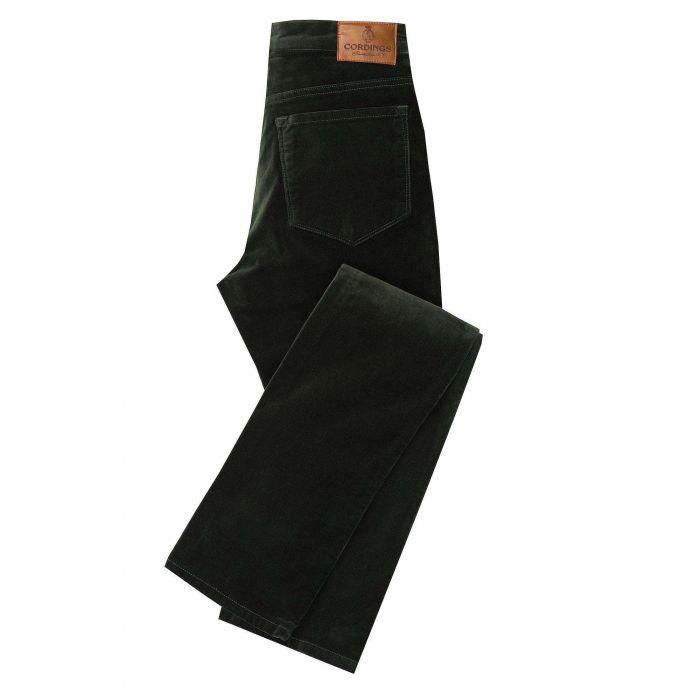 Green Olive stretch velvet jeans
