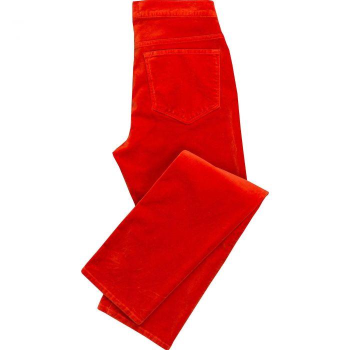 Bright Orange stretch velvet jeans